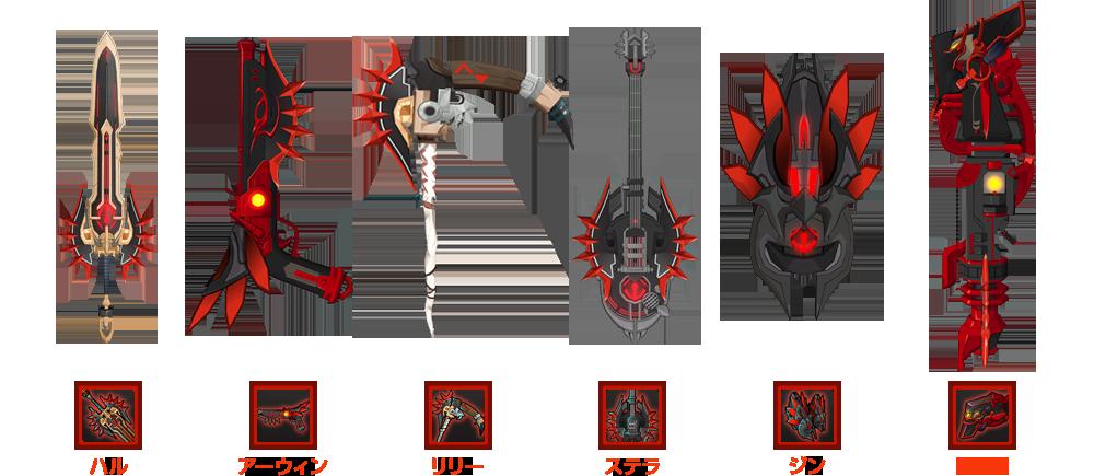 各キャラクターの武器